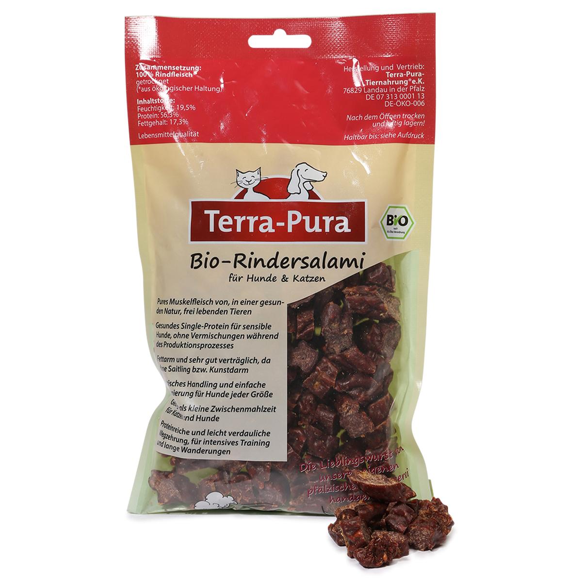 Terra Pura Hunde- und Katzensnack Bio Rindersalami in Scheiben 250g