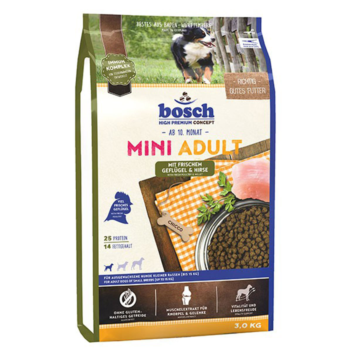 Bosch Hundefutter Mini Adult Geflügel & Hirse 3kg