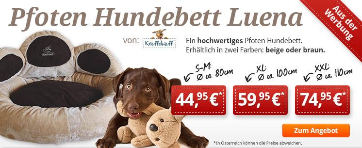 Aus der Werbung - Pfoten Hundebett Luena von Knuffelwuff in drei Größen.