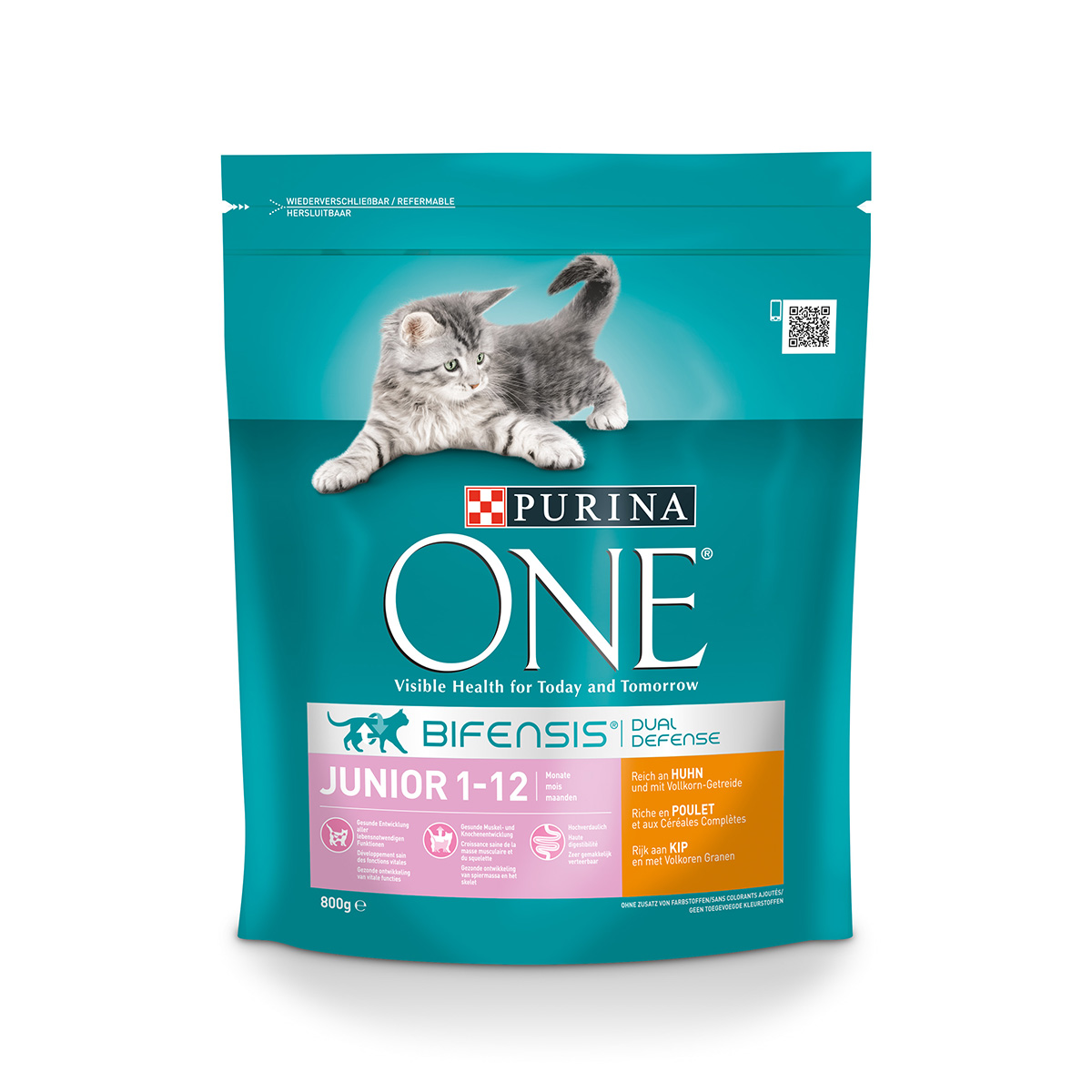 purina one bifensis katzenfutter junior huhn 800g bei zooroyal. Black Bedroom Furniture Sets. Home Design Ideas