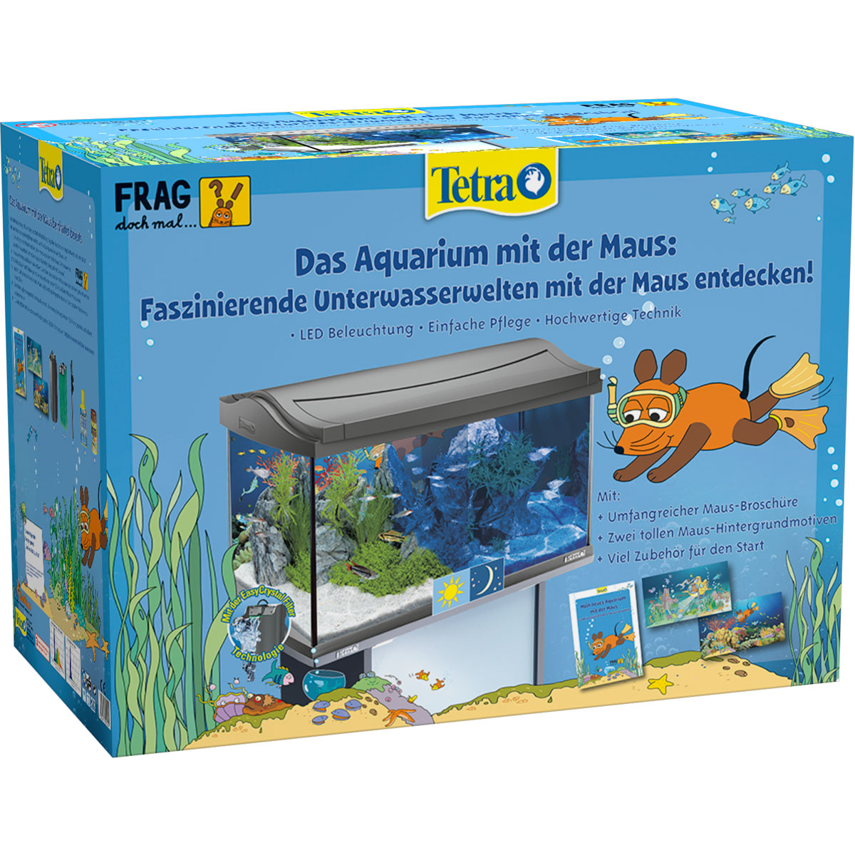 tetra das maus led aquarium anthrazit kinderaquarium ebay. Black Bedroom Furniture Sets. Home Design Ideas