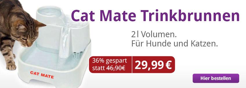 Jetzt den Cat Mate Trinkbrunnen mit 2l Volumen für Hunde und Katzen für 29,99 statt 46,90 € bestellen.