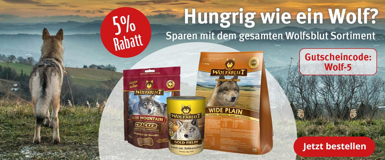 5% Rabatt auf das gesamte Wolfsblut Sortiment