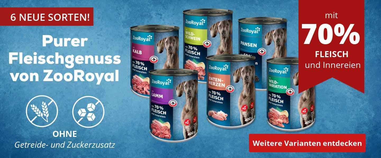Neu Sorten Nassfutter von ZooRoyal für Hunde