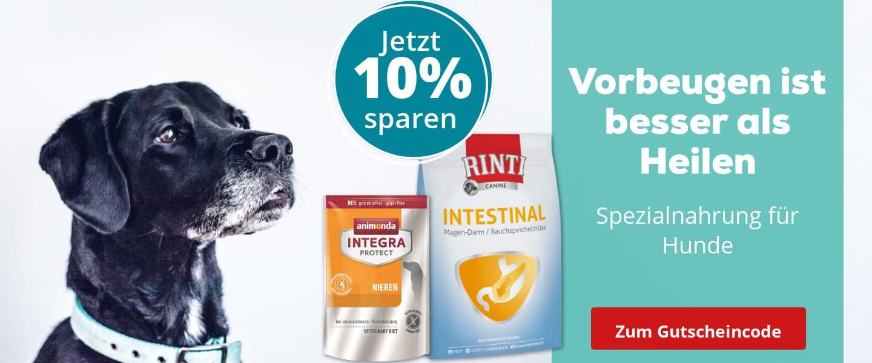 10% Rabatt auf Spezialnahrung für Hunde