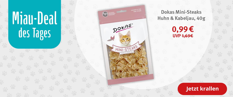 Miau-Deal Dokas Katzensnack Mini-Steaks Huhn & Kabeljau 40g für nur 0,99 Euro statt 1,69 Euro