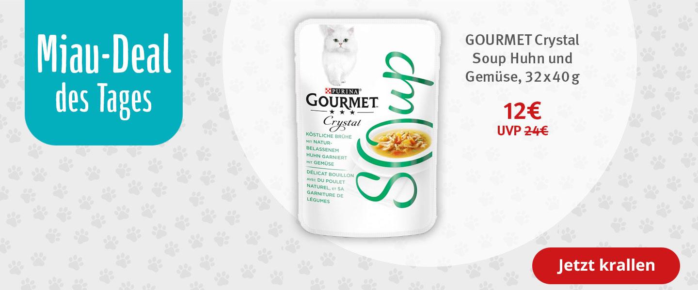 Miau-Deal: GOURMET Crystal Soup Köstliche Brühe mit Huhn und Gemüse 32x40g für 12€ statt 24€