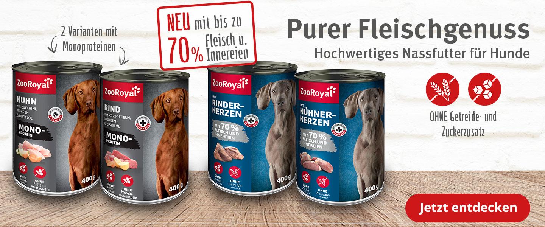 Purer Fleischgenuss ZooRoyal Nassfutter für deinen Hund