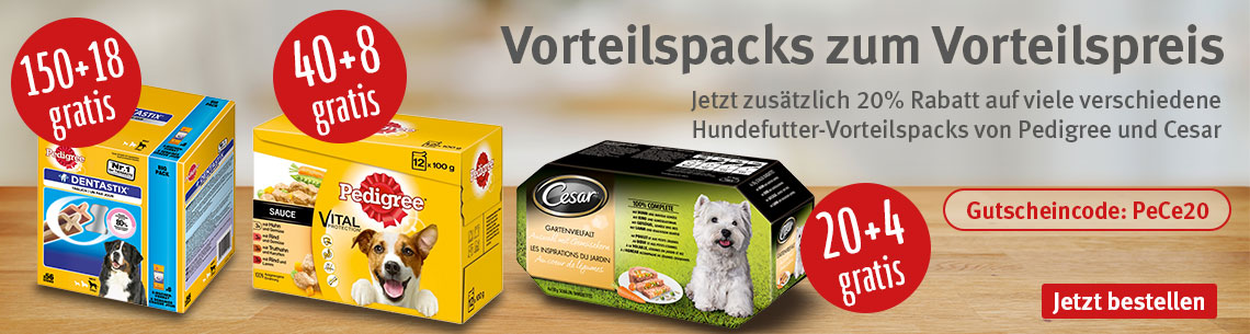 Pedigree und Cesar Vorteilspacks