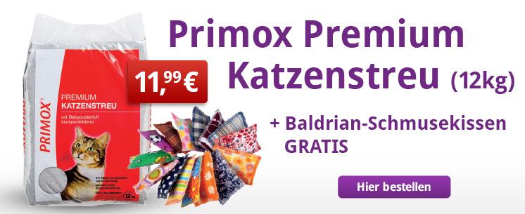 Jetzt 12kg Primox Premium Katzenstreu kaufen und ein Baldrian-Schmusekissen gratis erhalten.