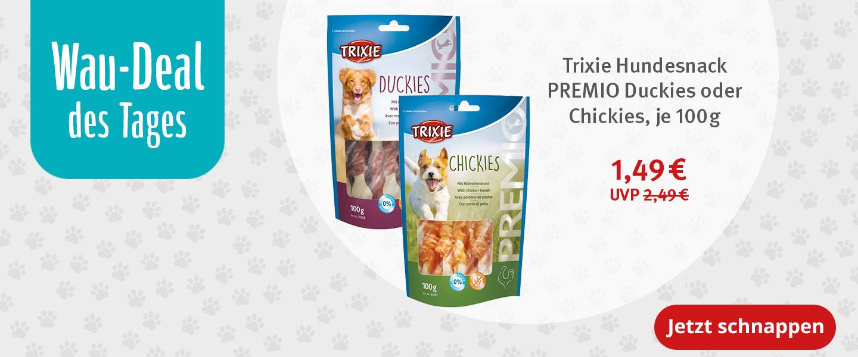 Wau-Deal Trixie Hundesnack PREMIO Duckies oder Chickies in der 100g Variante für nur 1,49€ statt 2,49€
