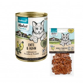 ZooRoyal Minkas Naturkost Ente & Huhn 12x400g + Mini Sticks Huhn & Thunfisch 50g gratis