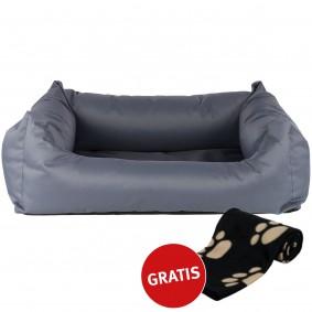 ZooRoyal Hundebett Noah grau 100x80cm + Trixie Fleecedecke Barney 150x100cm schwarz