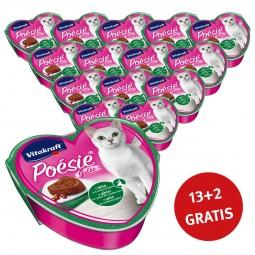 Vitakraft Katzenfutter Poésie mit Wild in Cranberry-Gelée 15x85g 13+2 Gratis