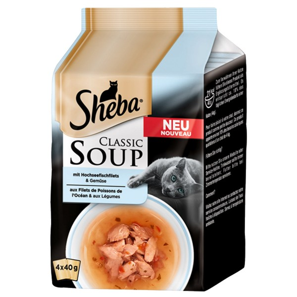 Sheba Classic Soup 4er Multipack mit Hochseefischfilet & Gemüse 4x40g