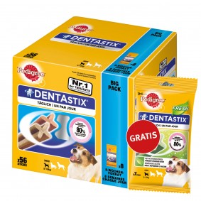 Pedigree DentaStix 56er Multipack plus 7er Pack Fresh gratis