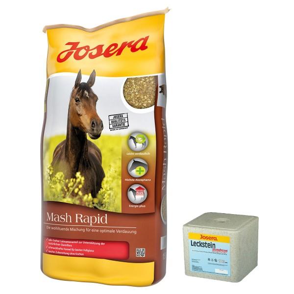 Josera Pferdefutter Mash Rapid 15kg + Leckstein...