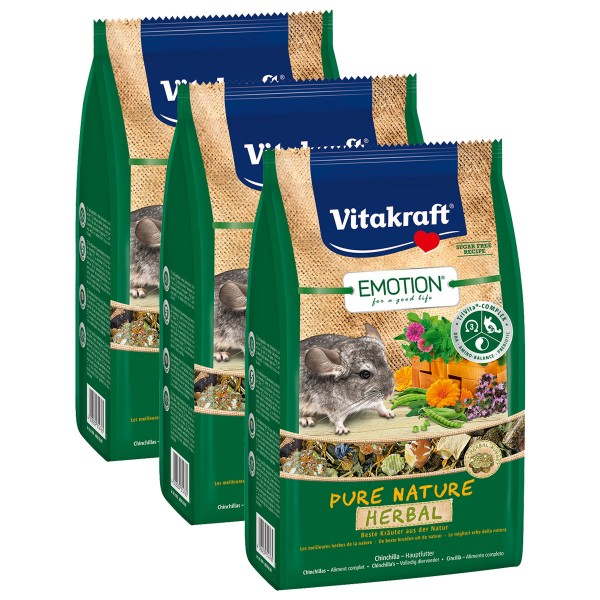 Vitakraft Emotion Pure Nature Herbal Chinchillas 3x600g