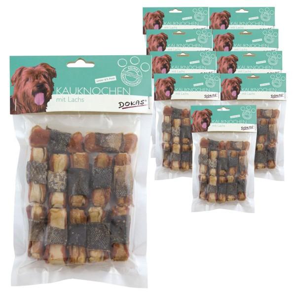 Dokas 120 Kauknochen mit Lachs Premium Hundesnack