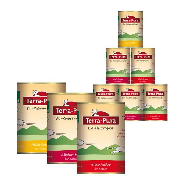 Terra Pura Katzenfutter Bio Mix-Set mit Pute, Rind, Herzragout 36x400g