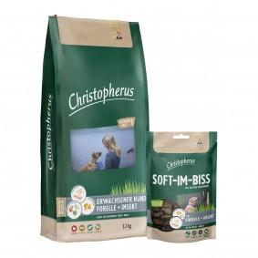 Christopherus Getreidefrei - Forelle + Insekt 12kg + Soft-Im-Biss mit Forelle + Insekt 125g gratis