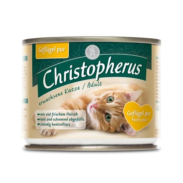 Christopherus Fleischmahlzeiten Katzenfutter Geflügel pur 6x200g