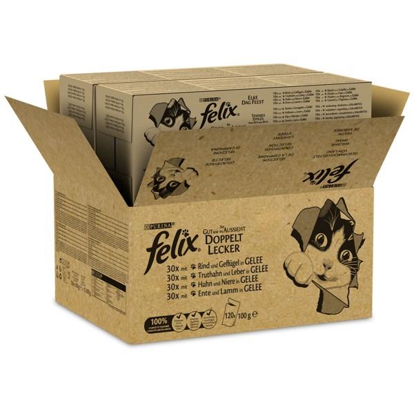 FELIX So gut wie es aussieht Doppelt Lecker in Gelee Geschmacksvielfalt vom Land 120x100g