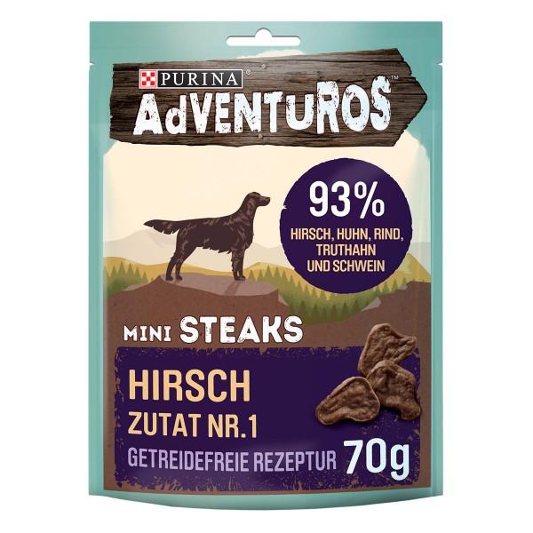 Purina AdVENTuROS Mini Steaks Hundeleckerli getreidefrei mit Hirsch
