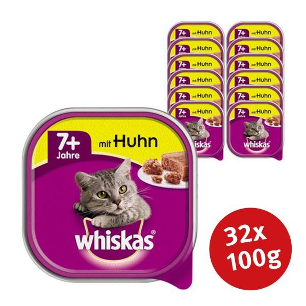 Whiskas Katzenfutter 7+ mit Huhn 32 x 100g