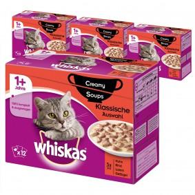 Whiskas Adult 1+ Creamy Soups Klassische Auswahl 36+12 Gratis (48x85g)