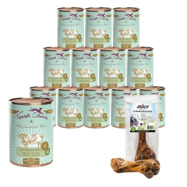 Terra Canis getreidefreies Hundefutter mit Rind & Zucchini 12x400g + GRATIS Schinkenknochen