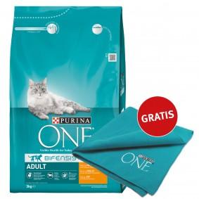 Purina One Katzenfutter Adult reich an Huhn 3kg plus Decke gratis