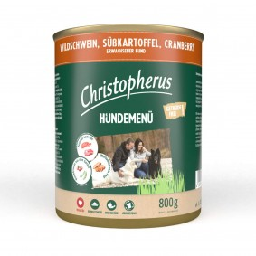 Christopherus Hundemenü mit Wildschwein, Süßkartoffel und Cranberry