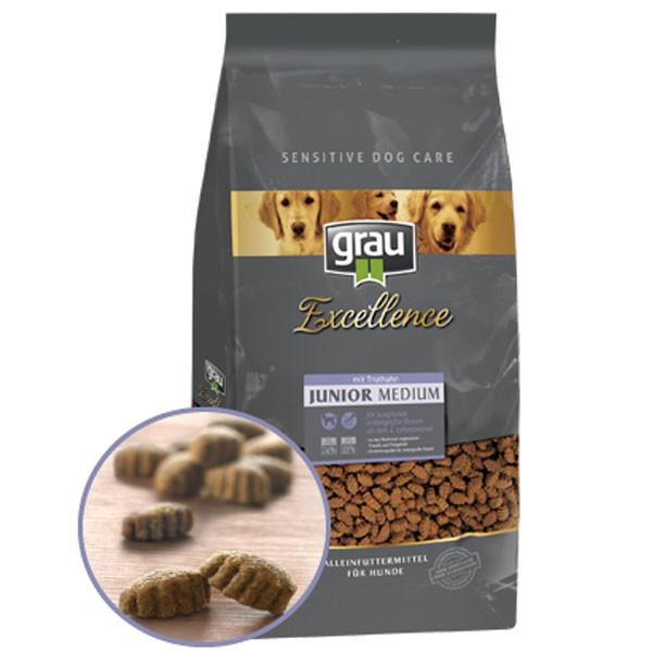 Grau Excellence Hunde-Trockenfutter Junior Medium mit Truthahn