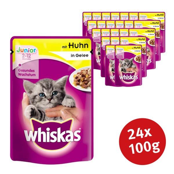 Whiskas Katzenfutter Junior mit Huhn in Gelee 24 x 100g
