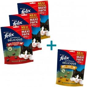 FELIX Naturally Delicious mit Rind & Goji Beeren 2x180g +  180g Huhn & Katzenminze  + 180g H