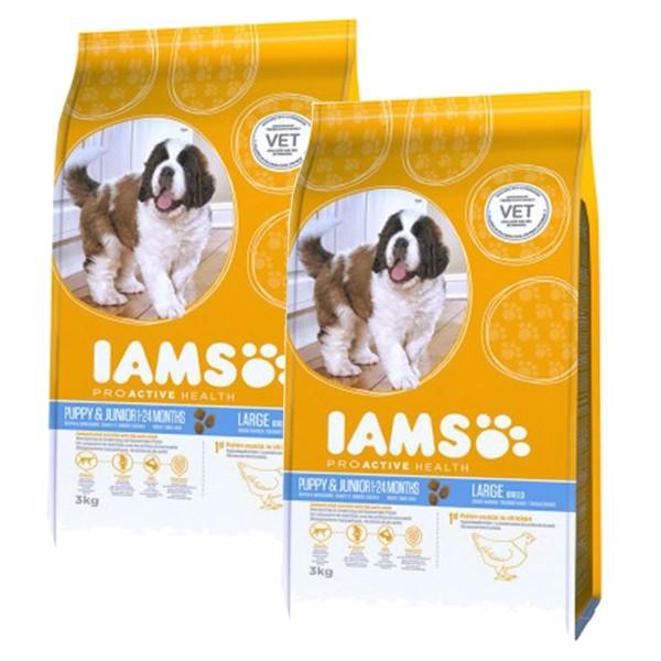 IAMS Hund Puppy & Junior Große Rassen Huhn 2x12kg