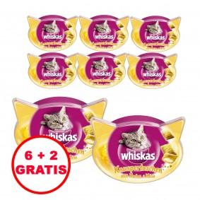 Whiskas Knuspertaschen mit Huhn und Käse 60g 6 plus 2 gratis