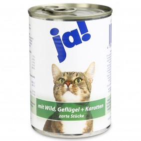ja! Katzenfutter mit Wild, Geflügel und Karotten