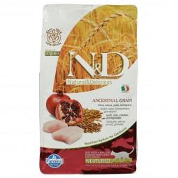 N&D Adult s nízkým obsahem obilovin, kuřecí maso a granátové jablko, pro vykastrované kočky