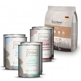 MjAMjAM Mixpaket II Wild&Kaninchen, Pute, Ente&Geflügel 6x400g + Venandi Animal - Rind 0,3kg