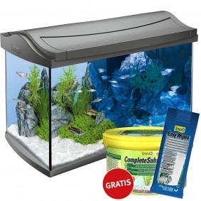 Tetra AquaArt LED Aquarium Komplettset Anthrazit 60l + Complete Substrate und Easy Wipes gratis