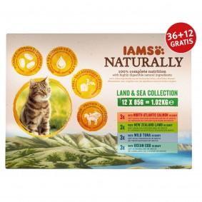 Iams Naturally Adult Land & See Mix in Sauce 12x85g 36+12 gratis