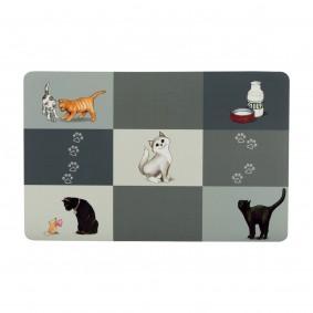 Trixie Patchwork Cat podložka pod misku, 44 x 28 cm, šedá