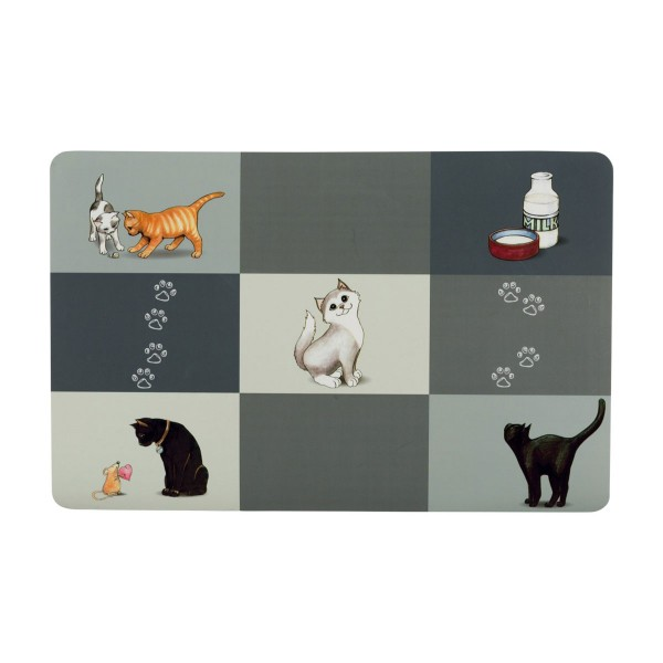 Trixie Patchwork Cat Napfunterlage 44×28cm grau