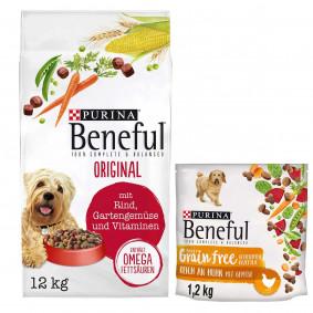 Beneful Original mit Rind 12kg + 1,2kg Grain Free gratis