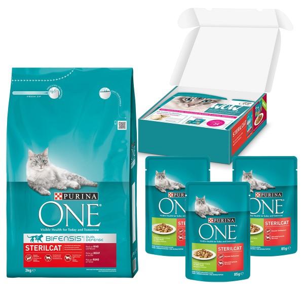 Purina One Bifensis Sterilcat Rind und Weizen 1,5kg+ 3x85g Purina One Nassfutter gratis