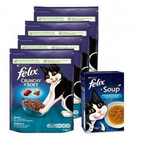 Felix Crunchy & Soft Thunfisch & Seelachs 4x950g + Soup Kabeljau, Thunfisch, Scholle 6x48g g