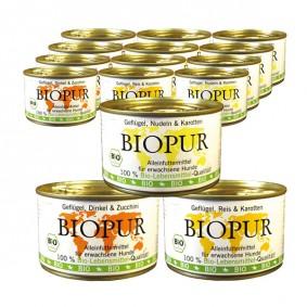 BIOPUR Bio Mix-Set Geflügel mit Reis, Dinkel, Karotten 36x400g