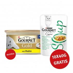 Gourmet Gold Feine Pastete Huhn 48x85g + Crystal Soup mit Huhn und Gemüse 10x40g GRATIS!